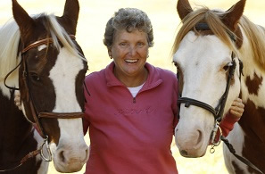 Peggy Adams with 2 horses
