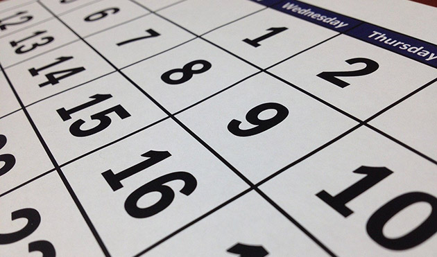 enlarged calendar of dates