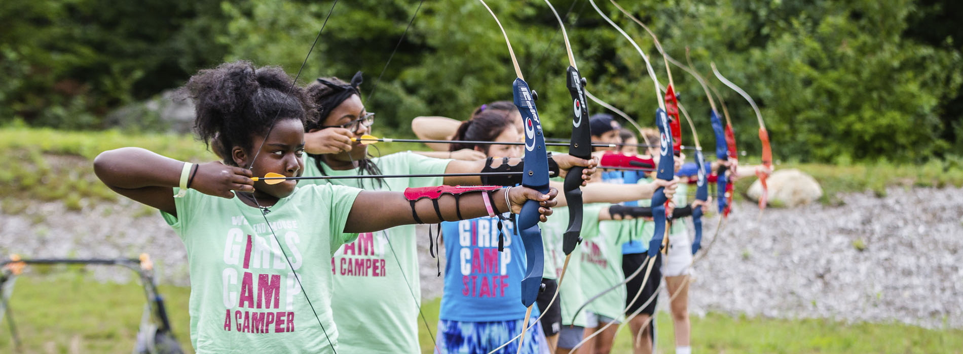 Campers at archery range