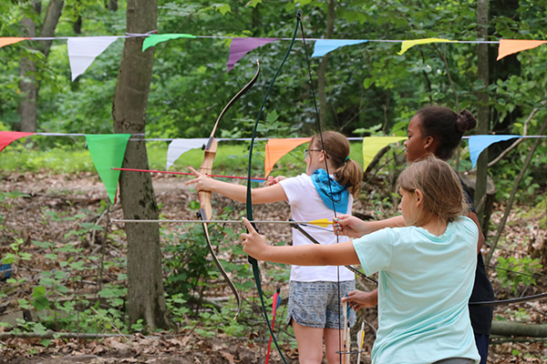 Campers at archery activity