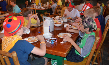 campers and staff eating