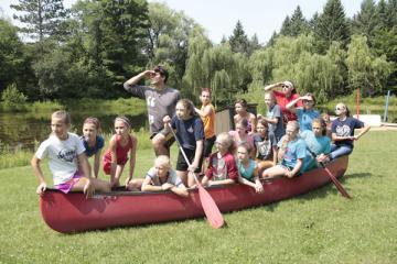 campers in canoe