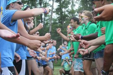 camp staff playing a game