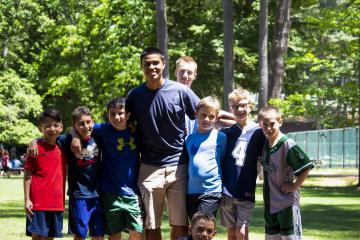 campers with camp staff