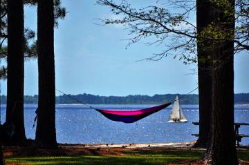 hammock with lake in background