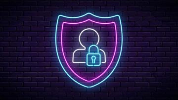Neon sign with profile outline and lock