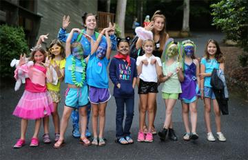 Campers and staff dressed in costume