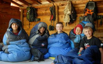 boys in sleeping bags