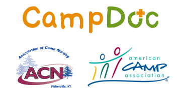 Logos of CampDoc, Association of Camp Nursing, and the American Camp Association