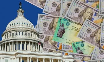 stock photo capitol building with money in background