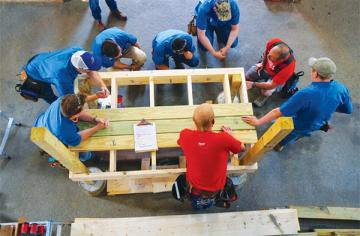 photo from above - working on a project together