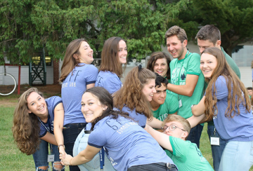 Staff in a team-building exercise