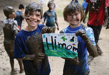 Boys covered in mud