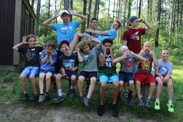 Campers/staff making silly faces