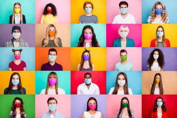 stock photo of people wearing masks