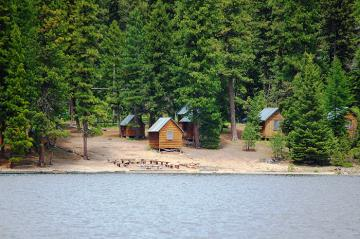 camp cabins on lakeshore