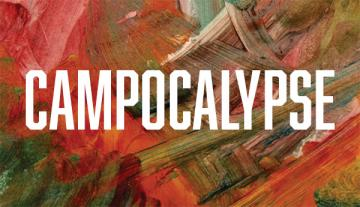 """abstract painting with """"Campocalypse"""" in foreground"""
