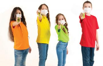 stock photo of kids in masks