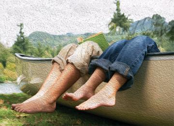 Oil painting of two pairs of legs hanging over canoe