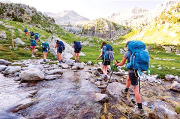 Campers hiking in the Pyrenees